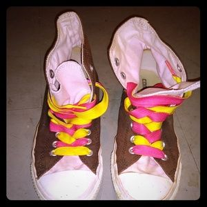 Pink and Brown High Top Converse